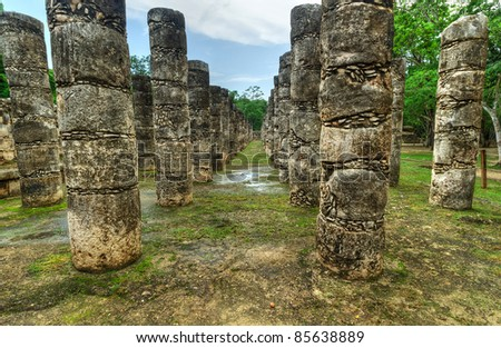 Columns in the Temple of a Thousand Warriors, Chichen Itza, Mexico - stock photo