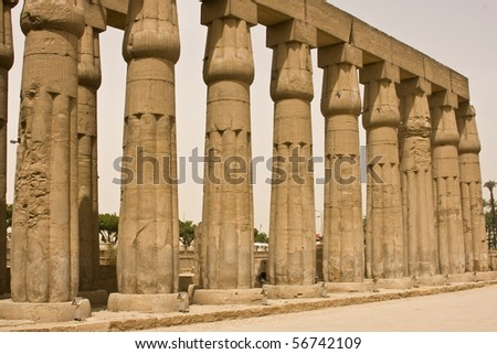 Columns in the temple of Luxor, Egypt - stock photo