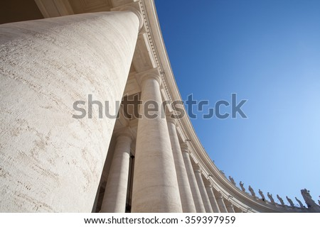 Columns in Vatican City. The Bernini's colonnades at the Saint Peters Square, Rome, Italy  - stock photo