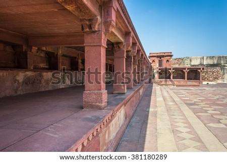 Columns inside Fatehpur Sikri in Agra, in the state of Uttar Pradesh - stock photo