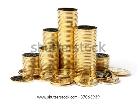 Columns of a golden coins, isolated over white