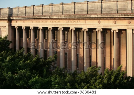 columns of a old building in havana, cuba - stock photo