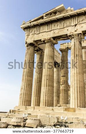 Columns of acropolis on sunny day  - stock photo