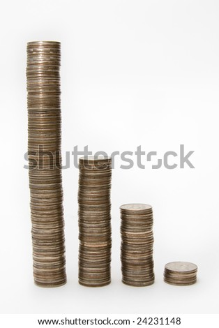 Columns of Coins against the Light Background