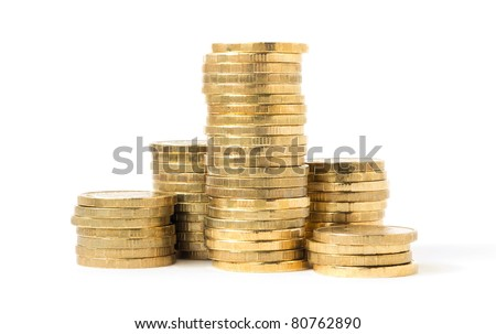 columns of coins isolated on white background - stock photo