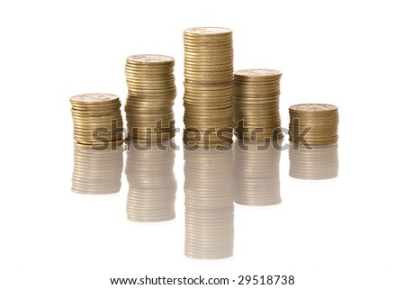 Columns of coins isolated on white color