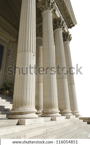 columns of courthouse isolated on a white background - stock photo