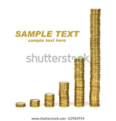 Columns of euro coins on white background