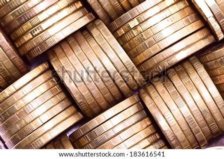 Columns of gold coins.Macro - stock photo