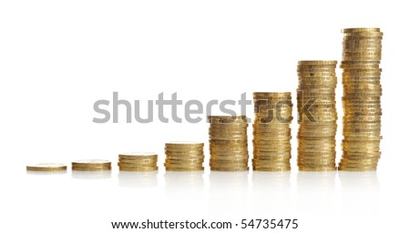 Columns of golden coins isolated on white - stock photo