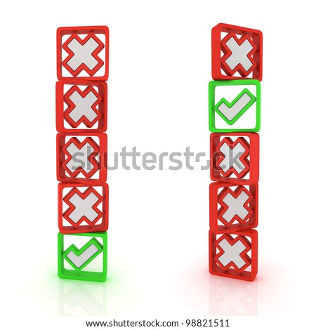 Columns of green ticks and red crosses - stock photo