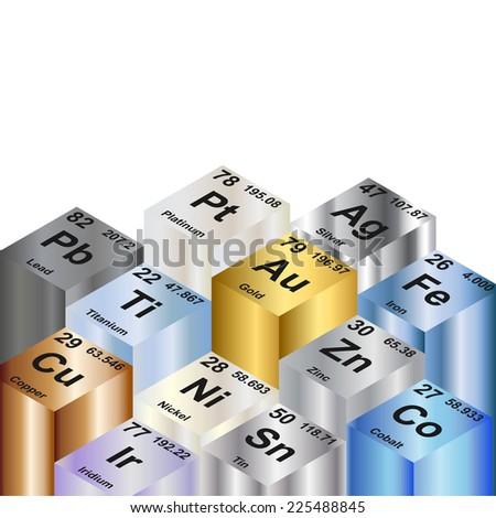 Columns of metallic elements  Background illustration  - stock photo