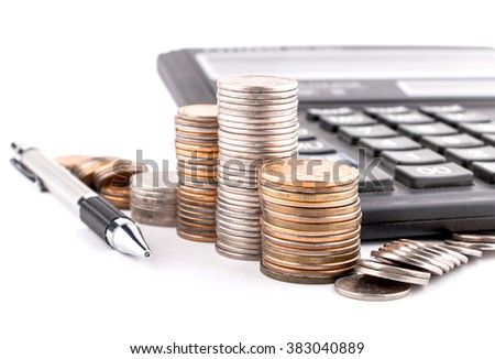 Columns of old coins, calculator and pencil. White background. - stock photo