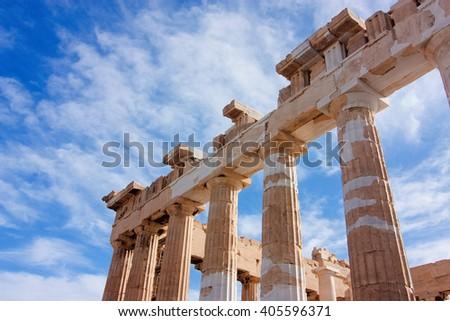 Columns of parthenon in Acropolis, Athens, Greece - stock photo