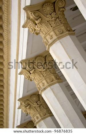 Columns of pavilion of main exhibition of Ukraine - stock photo