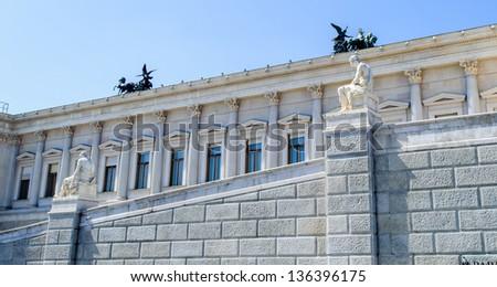 Columns of the Austrian Parliament Building, Vienna, Austria - stock photo