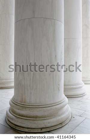 Columns of the Jefferson Memorial in Washington D C - stock photo