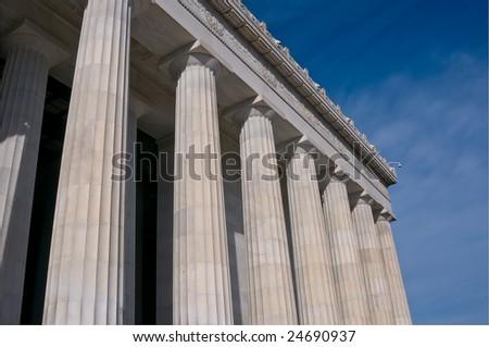 Columns of the Lincoln Memorial, Washingotn DC - stock photo