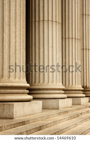 Columns of the Supreme Court building - New York City, USA - stock photo