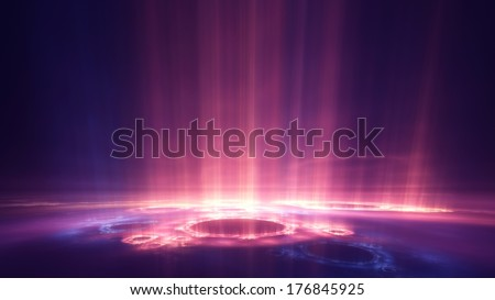 Columns of vibrant light rising into darkness (digital render in 16:9 aspect, suitable as wallpaper or backdrop) - stock photo