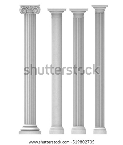 columns pilasters isolated background 3D illustration