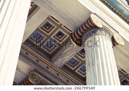 Columns Pillars at Athens Academy, instagram look - stock photo