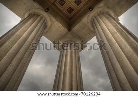 Columns supporting a replica of the Parthenon in Nashville, TN - stock photo