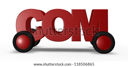 com tag on wheels - 3d illustration - stock photo