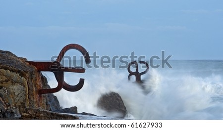 Comb of the Wind (Chillida) in Donostia - San Sebastian, Gipuzkoa - stock photo