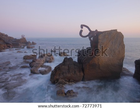 Comb of the Wind (Peine del viento, Chillida) in Donostia - stock photo
