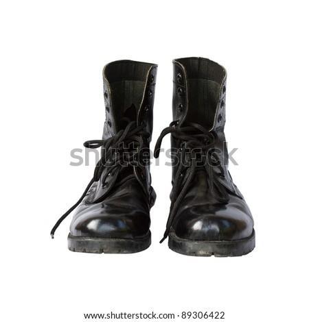 combat boot on white background - stock photo