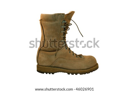 Combat boot single viewed from side - stock photo