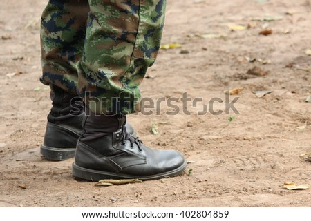 combat boots of Thai military soldier