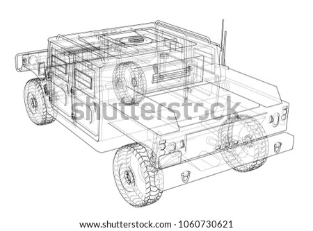 Combat car blueprint 3 d illustration wireframe stock illustration combat car blueprint 3d illustration wire frame style malvernweather Gallery