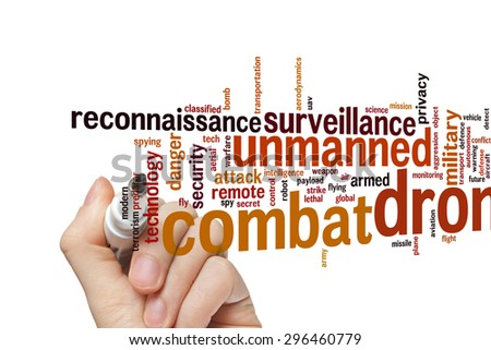 Combat drone concept word cloud background - stock photo