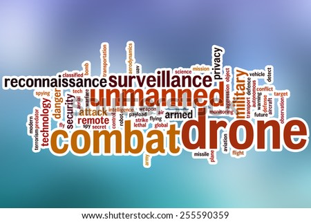 Combat drone word cloud concept with abstract background - stock photo