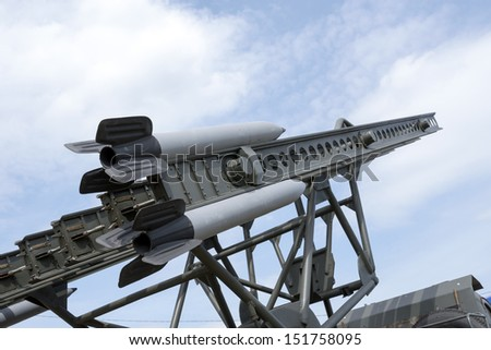 Combat missiles aimed at the blue sky. - stock photo