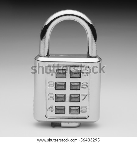 combination lock on the plain color background - stock photo