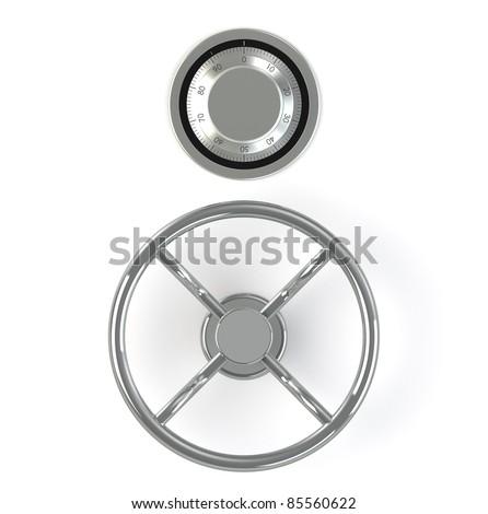 Combination Lock. Safe Mechanism on white background - stock photo