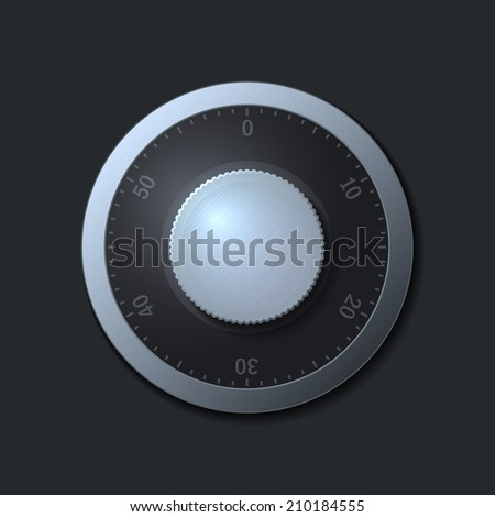 Combination lock wheel on dark background.  illustration - stock photo