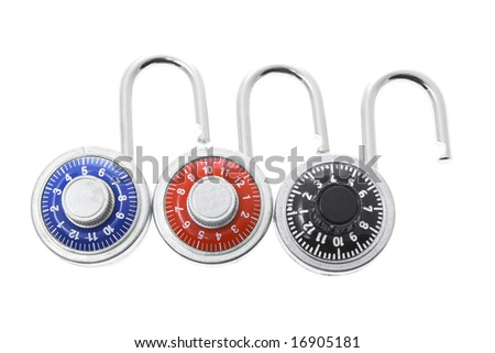 Combination Locks on Isolated White Background