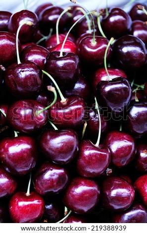 Combination of fresh Black cherry - stock photo