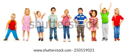Combination of little kids standing isolated  - stock photo