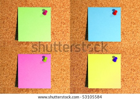combination of notice notes with pin on corkboard