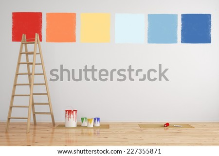 Combination of paint colors as selection on a wall during renovation (3D Rendering) - stock photo