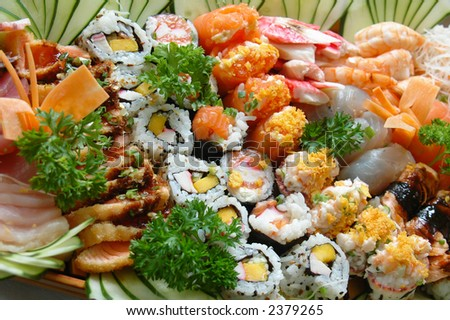 Combination of sushi - Japonese food . - stock photo