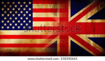 combination of the flags of the usa and the uk - stock photo