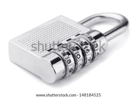 Combination padlock isolated on white - stock photo