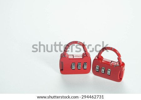 combination padlock on white background