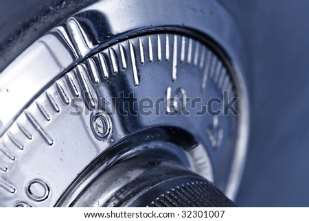 combination safe lock closeup - stock photo